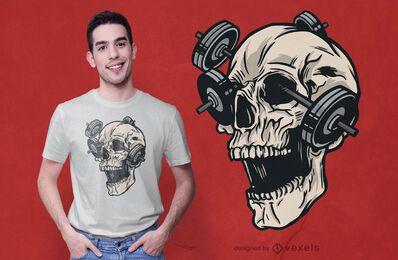 Design de camiseta de ginástica com caveira