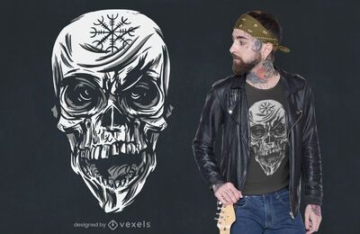 Creepy skull t-shirt design