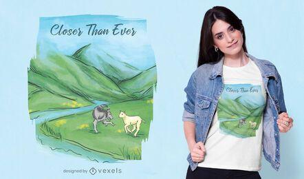 Diseño de camiseta de animales de paisaje.