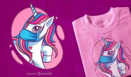 Cute mask unicorn t-shirt design