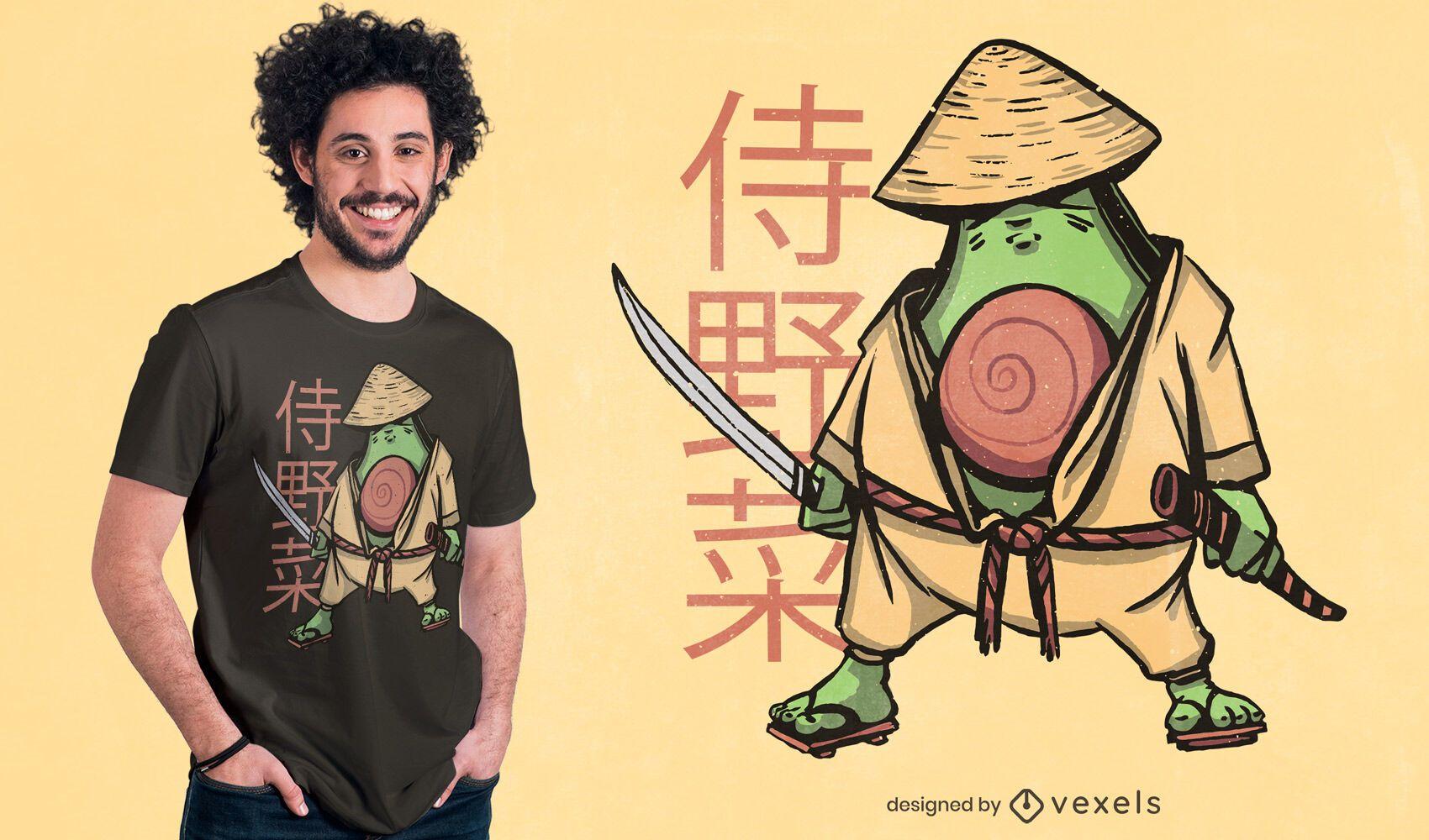 Avocado samurai t-shirt design