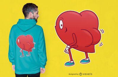 Diseño de camiseta de corazón twerking