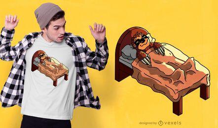 Faultier Bett T-Shirt Design
