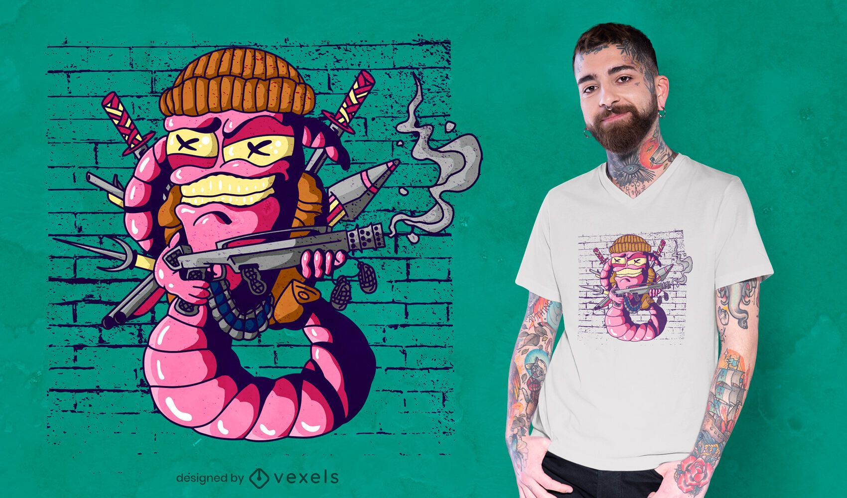Threatening war worm t-shirt design