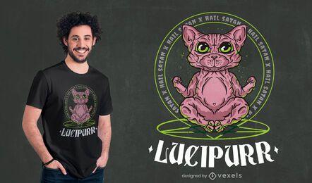 Design satânico de t-shirt de gato egípcio