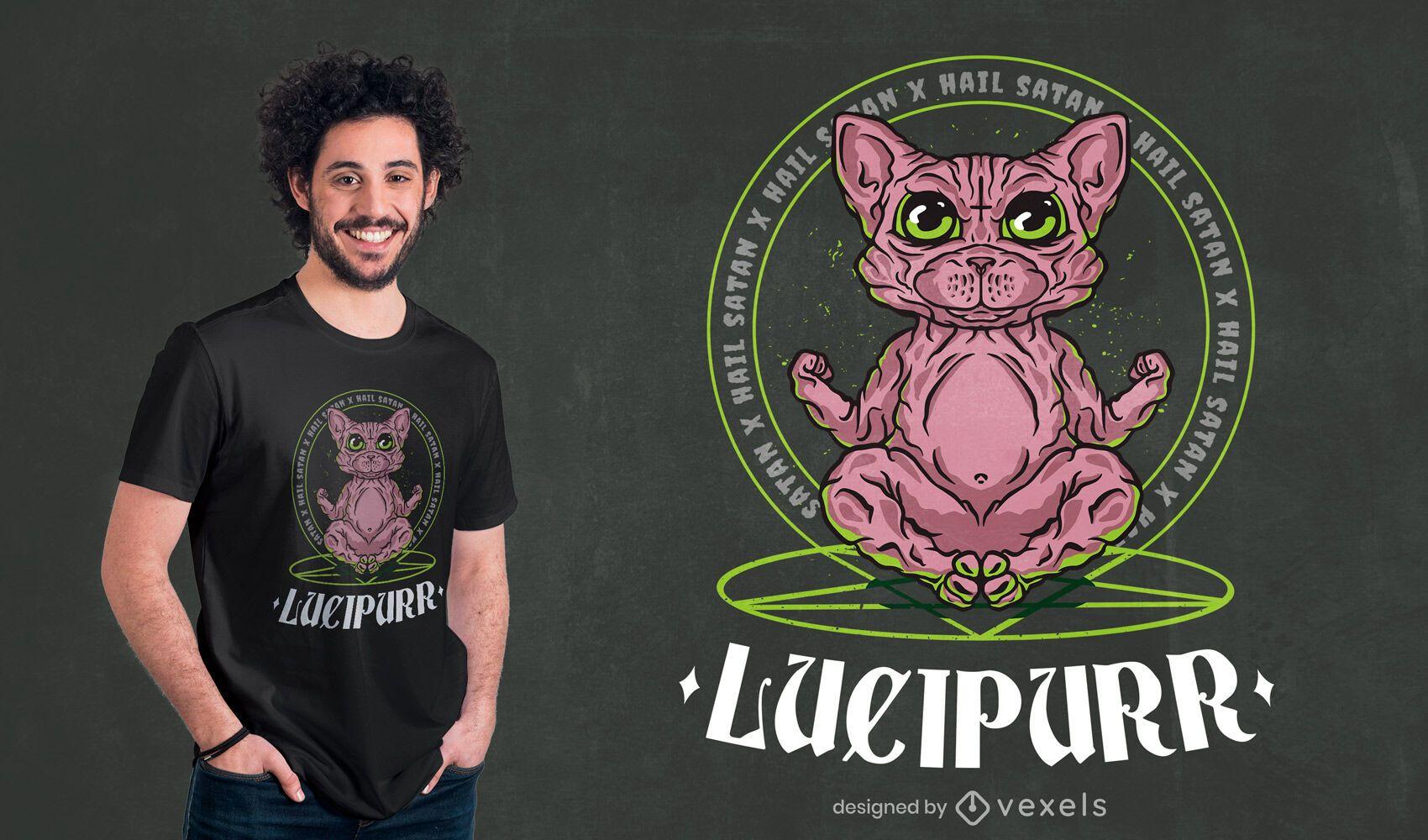Diseño de camiseta de gato egipcio satánico.