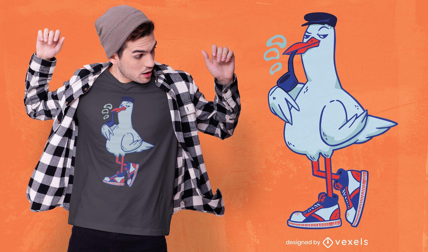 Diseño de camiseta de personaje de pájaro fresco
