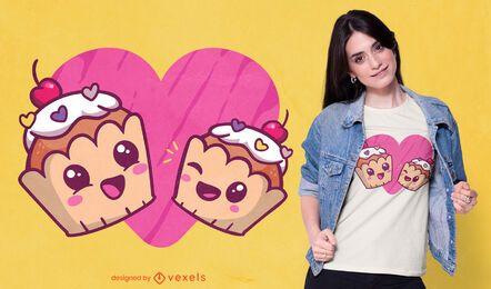 Design de t-shirt de cupcakes felizes