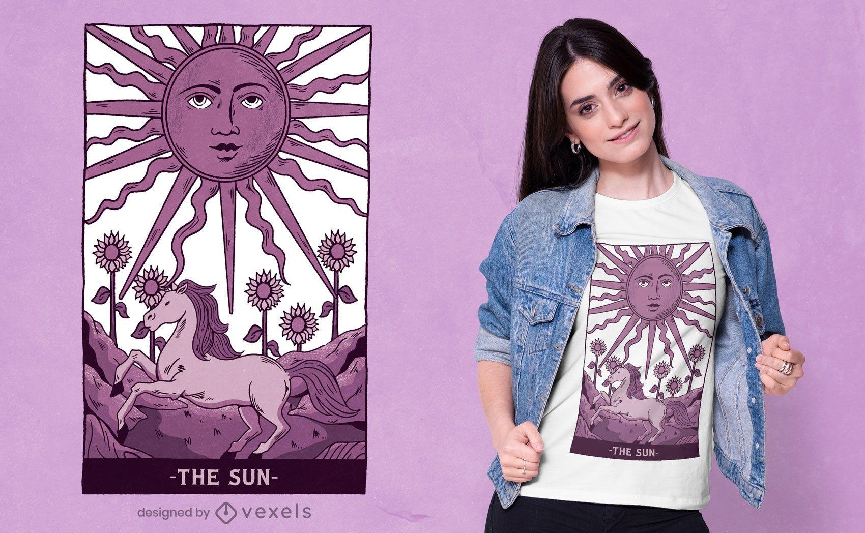 Design de t-shirt de tarô Sun