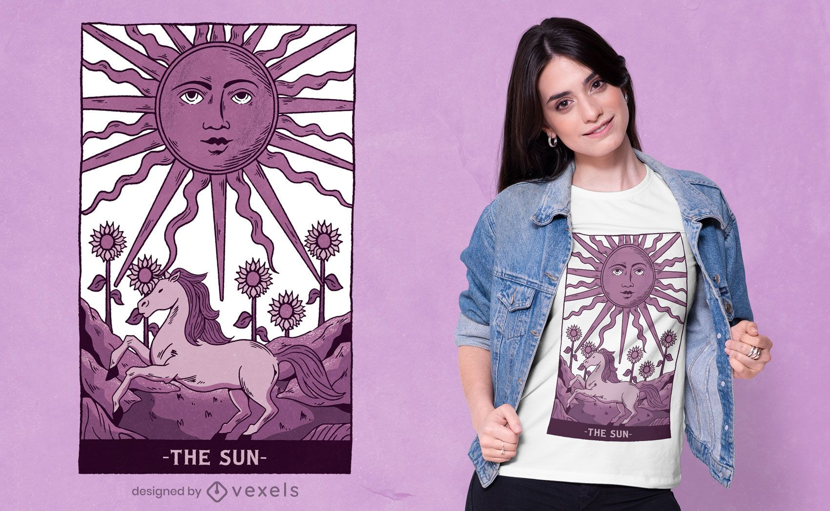 Diseño de camiseta Sun Tarot Card
