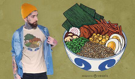 Diseño de camiseta de tazón de ramen