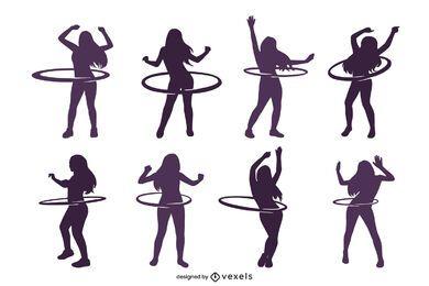 Hula-Hoop Frau Silhouette Set