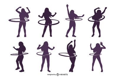 Hula-hoop woman silhouette set