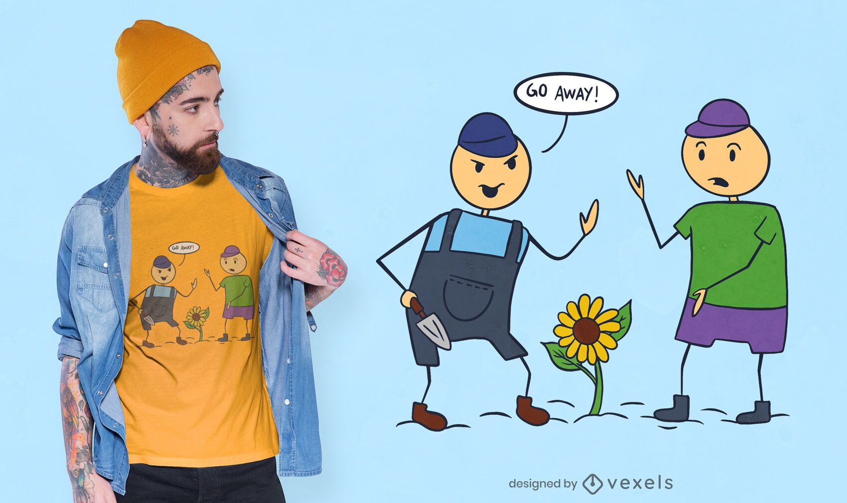 Go away cartoon t-shirt design