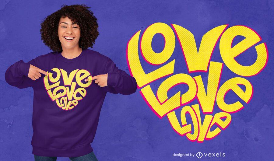 Diseño de camiseta de corazón de amor