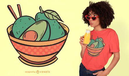 Diseño de camiseta de tazón de aguacate.