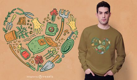 Design de t-shirt de coração com ferramentas de jardim