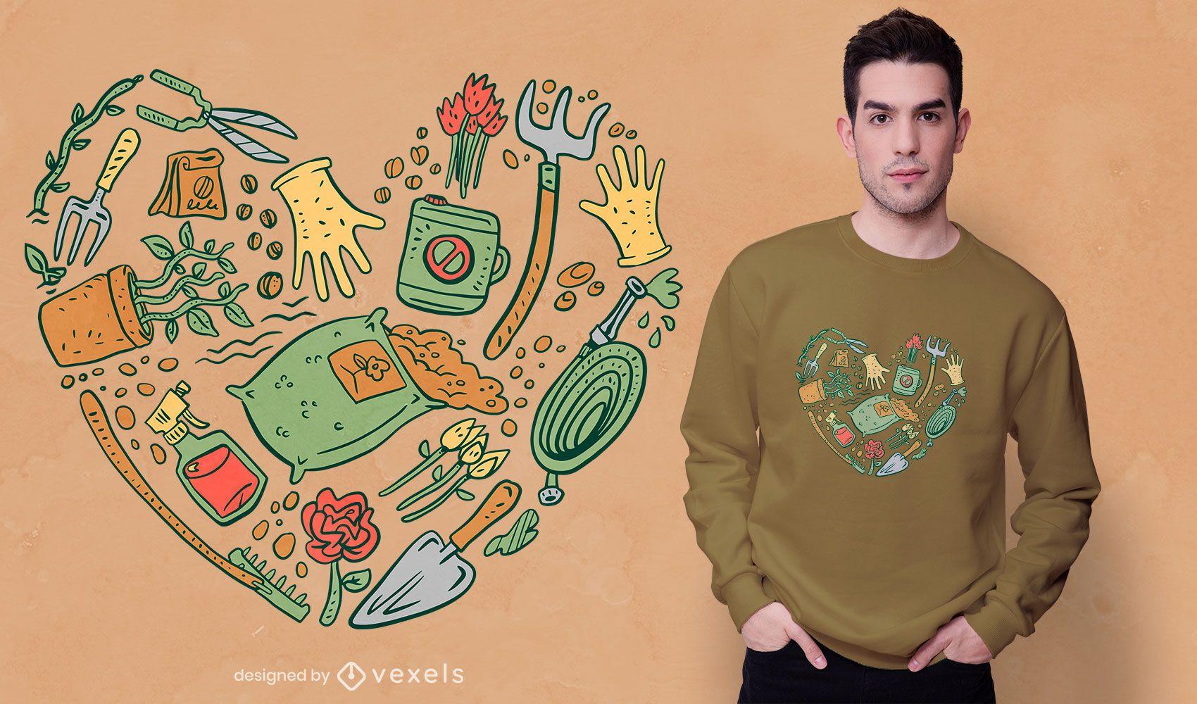 Diseño de camiseta de corazón de herramientas de jardín.