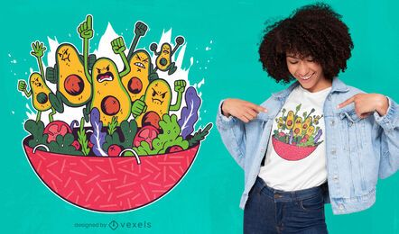 Diseño de camiseta de aguacate vs ensalada