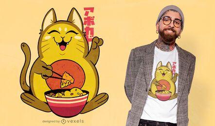 Diseño de camiseta de aguacate gato nachos.