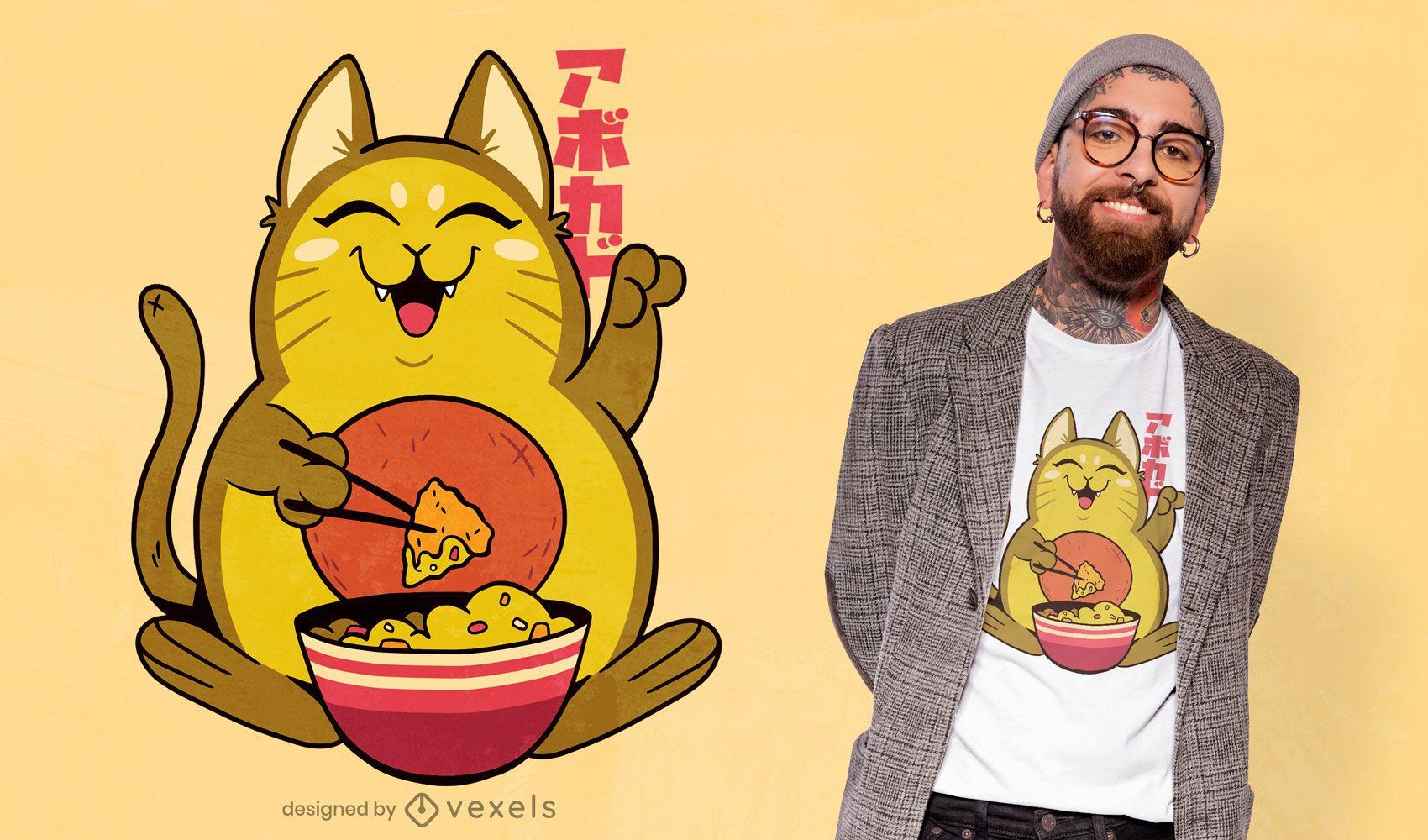 Dise?o de camiseta de aguacate gato nachos.
