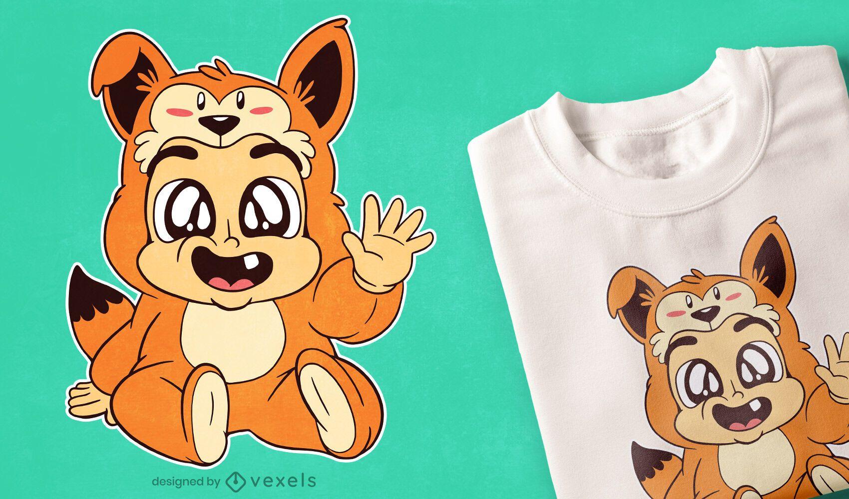 Diseño de camiseta bebé zorro