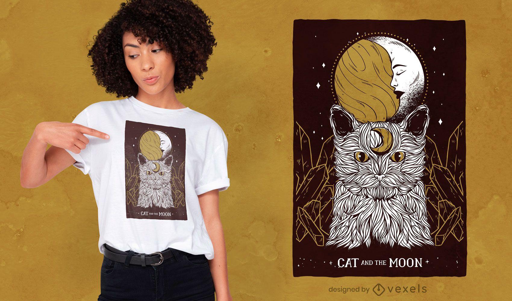 Diseño de camiseta gato luna creciente