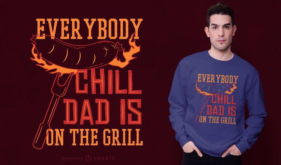 Diseño de camiseta grill dad