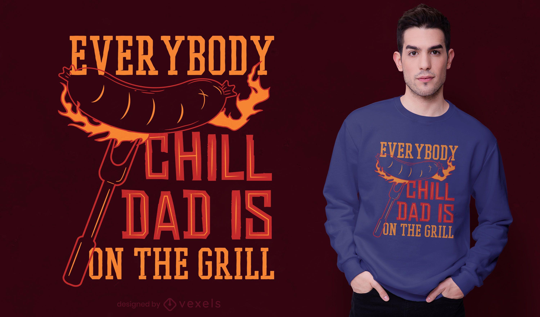 Design de t-shirt do pai Grill