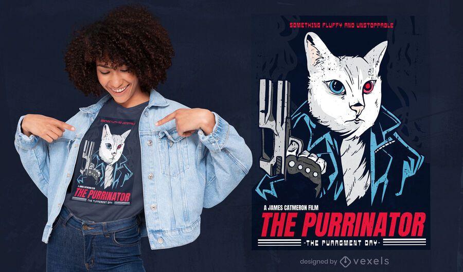 El diseño de la camiseta Purrinator