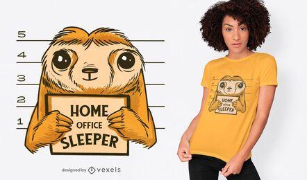Design de camiseta para preguiça de escritório doméstico