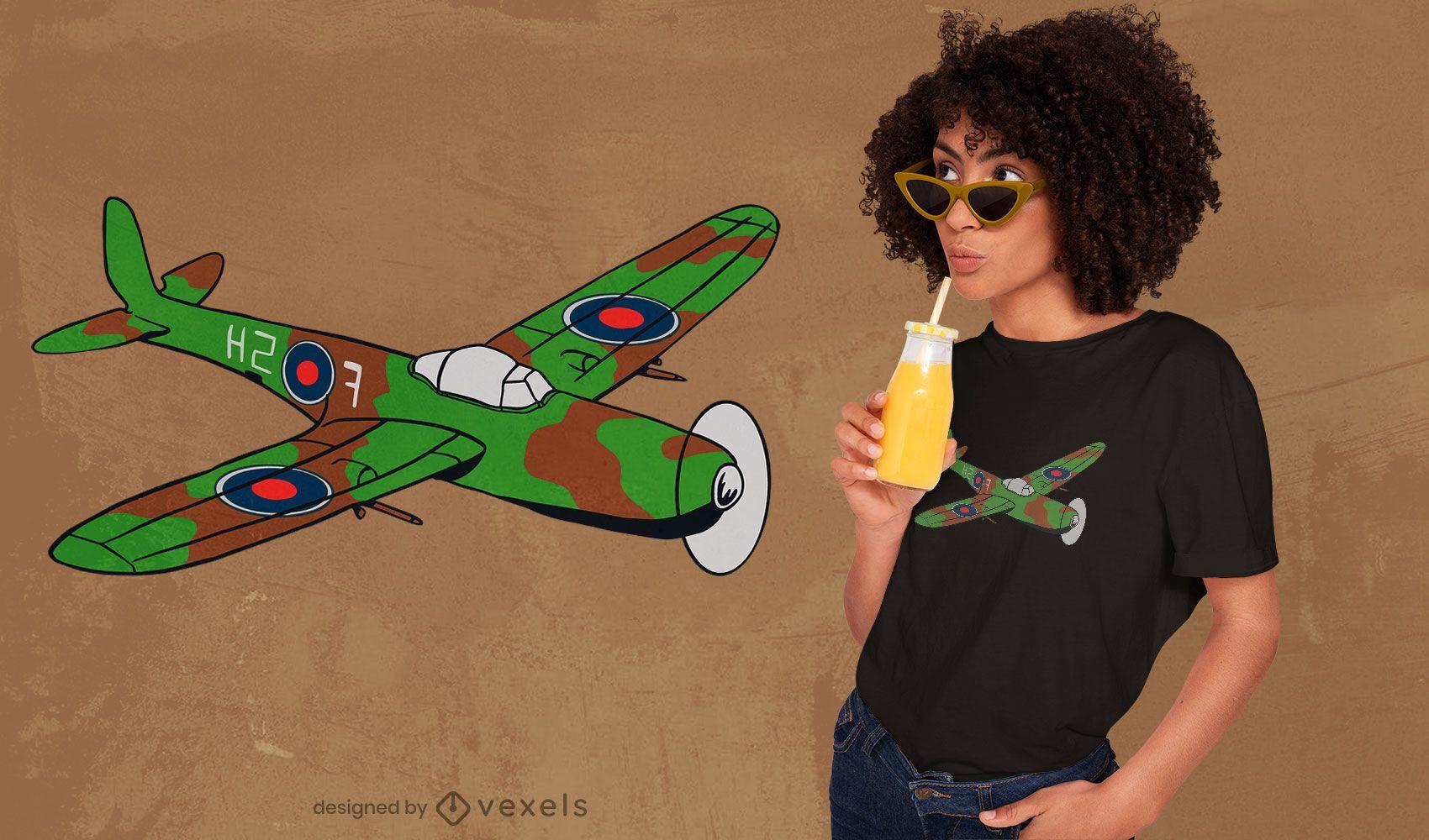 Diseño de camiseta de avión Spitfire