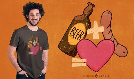 Diseño de camiseta de amor de salchicha de cerveza.
