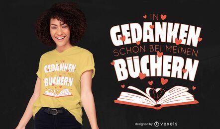 Livros com design de t-shirt de citação alemã