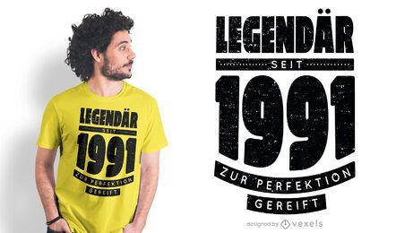Diseño de camiseta legendario desde 1991