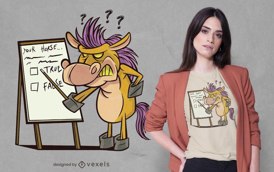Angry cartoon horse t-shirt design