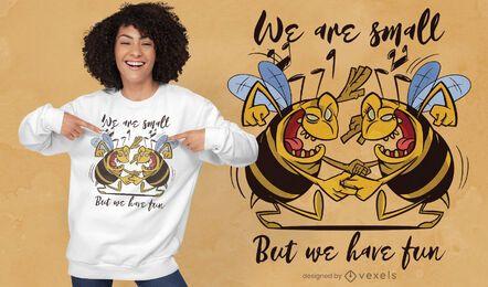 Diseño de camiseta de abejas bailando.