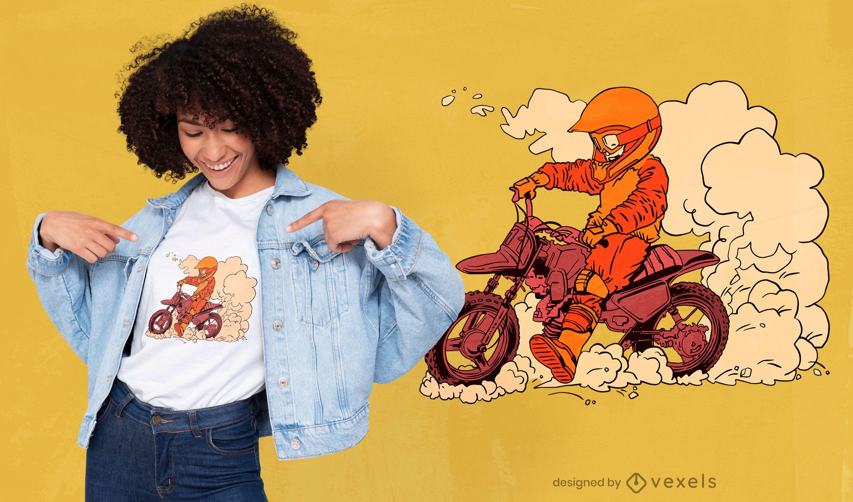 Diseño de camiseta de niño motero