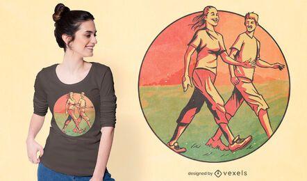 Diseño de camiseta de personas caminando.