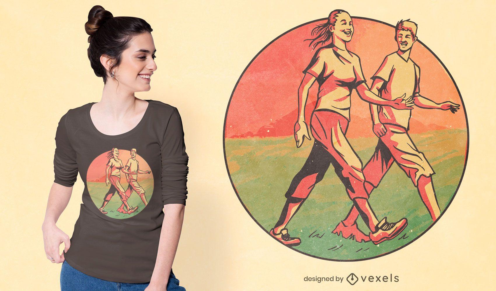 Walking people t-shirt design