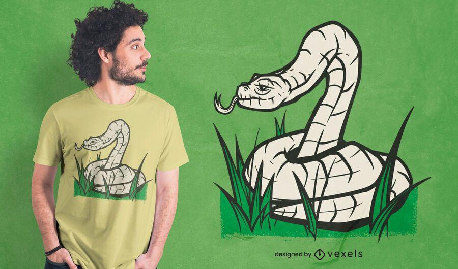 Diseño de camiseta de serpiente enrollada