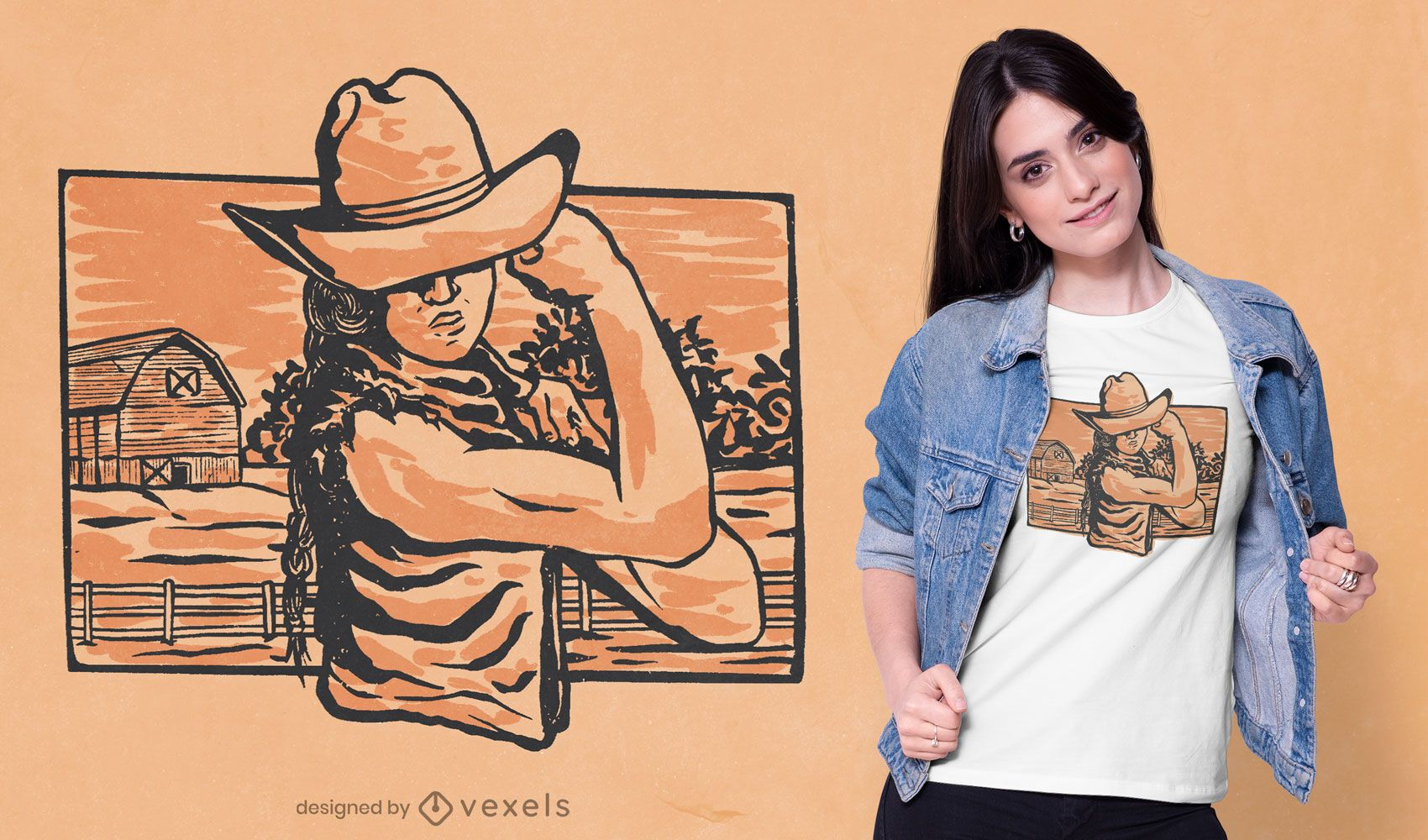 Cowgirl flex t-shirt design