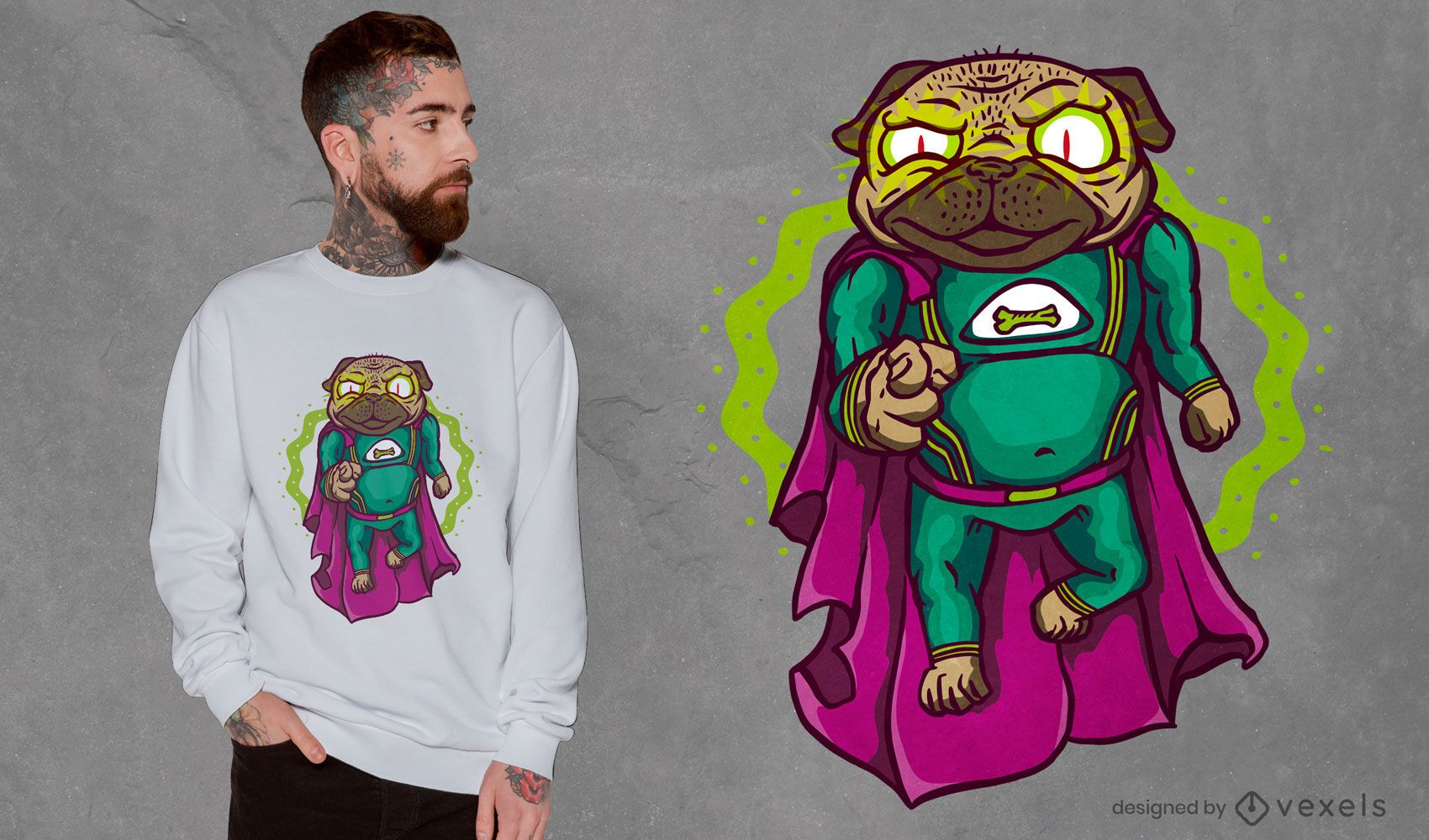 Super pug levitating t-shirt design