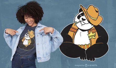 Design de camiseta do xerife panda