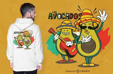 Diseño de camiseta de aguacates Mariachi.