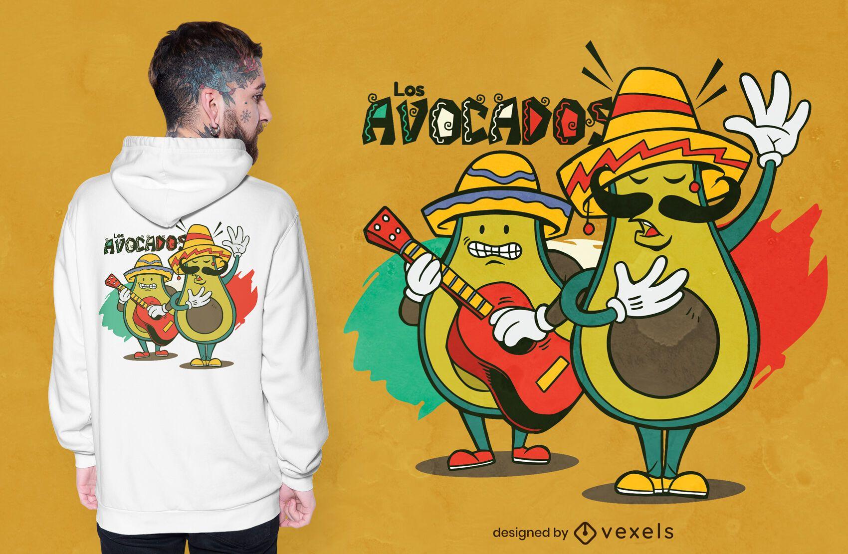 Dise?o de camiseta de aguacates Mariachi.
