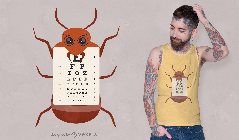 Diseño de camiseta de gráfico ocular de hormiga