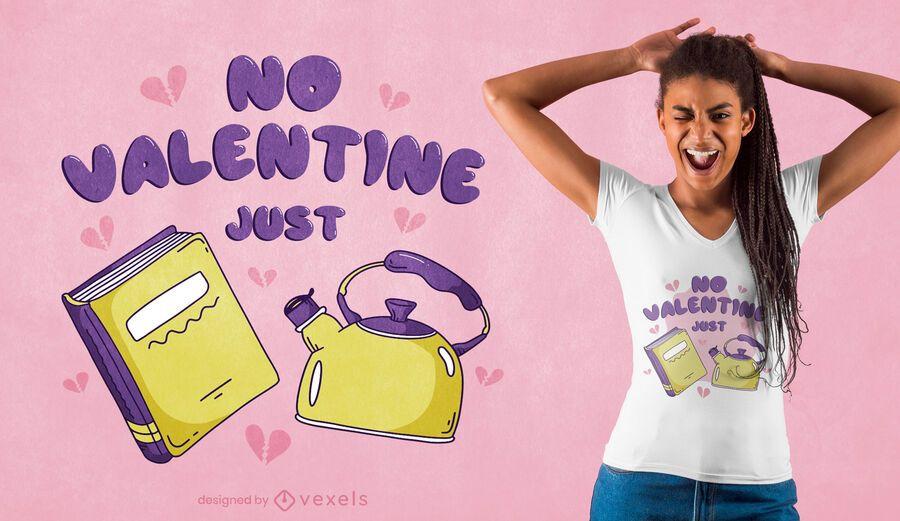 Diseño de camiseta de libros y té de San Valentín.