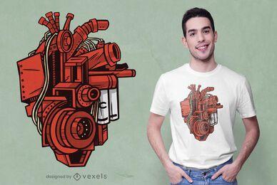 Diseño de camiseta de corazón mecánico.