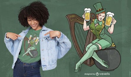 Leprechaun woman t-shirt design